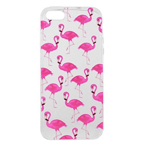Pour Apple iPhone 5 5G 5S / iPhone SE (4 Pouces) Coque ZeWoo® Étui en Silicone TPU Housse Protecteur - HX010 / Des Pastèques HX014 / Flamants Roses