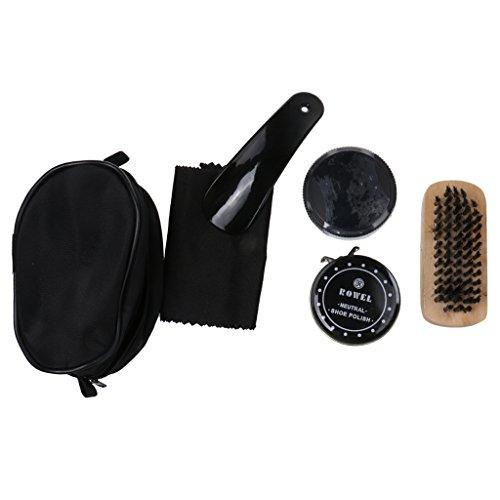 Footful 6pcs Kit de Soins de Cirage Chiffon Chausse-pieds Brosse Cirage Eponge Sac Voyage pour Chaussures Bottes en Cuir
