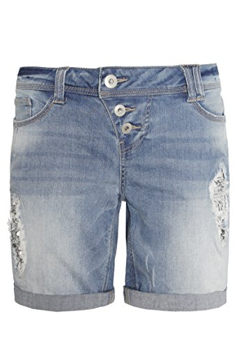 Rock Angel Damen Bermuda AMY mit Pailletten I Kurze Hose I Jeans-Shorts in Destroyed Optik blue XL