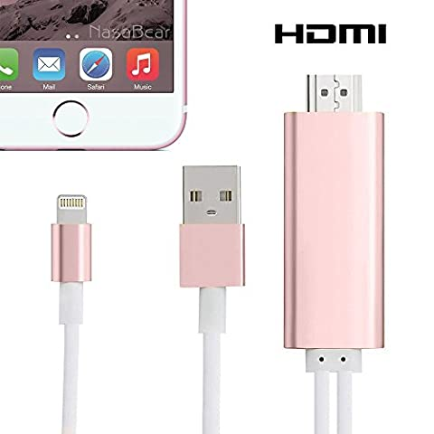 Lightning to HDMI Adapter Cable, Cooliker 8 Pin Lighting Digital AV to HDMI HDTV 1080P Cable Converter Adaptor Connector for iPhone 7 7 Plus 6s 6s Plus 6 6 Plus 5 5c 5s SE, iPad Air/Mini/Pro, iPod Touch (Rose Red)
