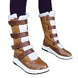 TianWlio Stiefel Frauen Herbst Winter Schuhe Stiefeletten Boots Lässige Runde Zehe Schuhe Flach mit Schnee Stiefel Kurze Plüsch Stiefel mit Mittlerem Schlauch Braun 36