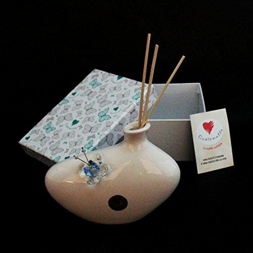 Dlm24715-azzurro profumatore in ceramica con farfalla cristallo_azzurro bomboniera