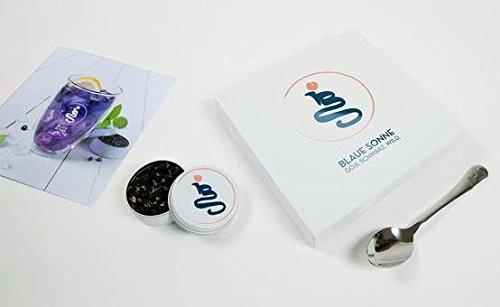Blaue Sonne - kleine Geschenkbox, 10g wilde BIO Goji Beeren (=Monatsration) aus der Mongolei, 1 gravierter Blaue-Sonne-Löffel und 1 Broschüre - Wildnis Blau