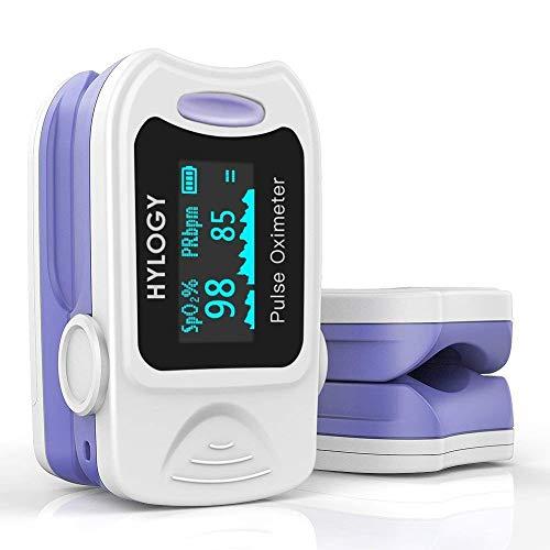 HYLOGY Pulsoximeter, MD-H10 Finger Oximeter Blutsauerstoffsättigung Monitor mit OLED Display, Herzfrequenz Oximeter, Mehrweg
