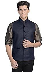 Vastraa Fusion Mens Jute Ethnic Jacket (Vastraavs0524-46_Dark Blue_46)