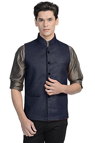 Vastraa Fusion Men's Jute Ethnic Jacket (Vastraavs0524-46_Dark Blue_46)