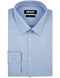 DKNY Slim Fit Himmelblau Knopfmanschette Spitzen Kragen Hemd 17