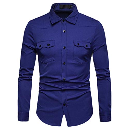 CuteRose Men's Long Sleeve Solid Color Snap-Front Business Regular Fit Shirts Dark Blue S