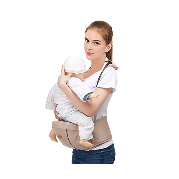 SONARIN Multifunctional Hipseat Baby Carrier,Free Size,Toddler Hip Seat Carrier,Front Carrier Belt,4 Carrying Positions,Adapted to Your Child's Growing,Ideal Gift(Light Brown) SONARIN Applicable age and Weight:0-36 months of baby, the maximum load: 20KG, and adjustable the waist size can be up to 45.3 inches (about 115cm). Material:designers carefully selected comfortable and cool polyester fabric, light, tear-resistant, breathable,Inner pad : EPP Foam,safe and no deformation. Description:Sturdy buckle and inner soft padded ensuring baby safety and parent's comfort.It takes 1 second to put on.Nothing is more convenient.Side with small pockets, in order to store handkerchiefs, wallets and mobile phones and other small items. 2