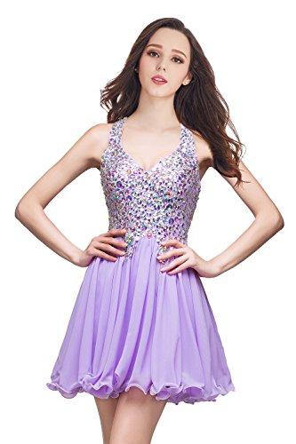 Damen Prinzessin V-Ausschnitt Abendkleid Hochzeitskleid mit Schmucksteinen knielang Lila 44