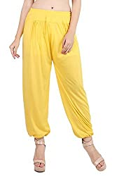 Myshka Womens Brown Purple Yellow Solid Cotton Lycra Harem Pants (Pack Of 3) _HM030405-free
