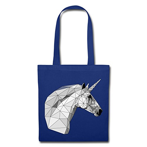 Spreadshirt Grafisches Einhorn Low Poly Geometrisch Stoffbeutel Royalblau