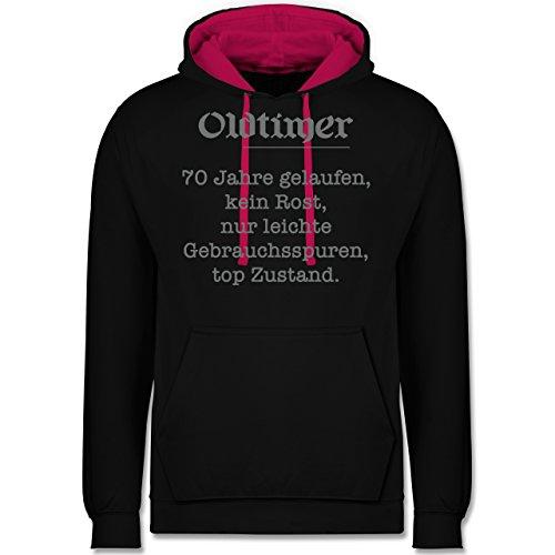 Geburtstag - 70 Jahre Oldtimer Fun Geschenk - Kontrast Hoodie Schwarz/Fuchsia