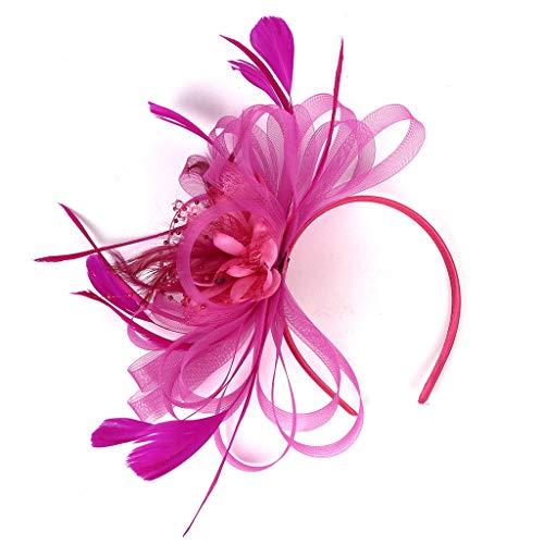 MIRRAY 1920er Kopfschmuck Flapper Stirnband Kopfschmuck Floral Flower Garland MäDchen Hochzeit Stirnband Rockabilly Pink