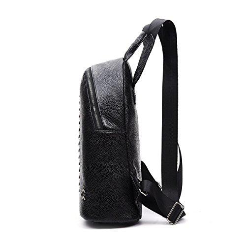Art Und Weise PU-Leder Nieten Frauen Im Freien Schultertaschen Black