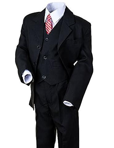 Festlicher 5 teiliger Jungen Anzug mit Jacke, Weste, Hemd, Hose und Krawatte (6 / 110 / 116, #133sw Schwarz)