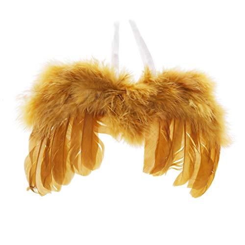 LIXIAQ1 Gold Neugeborenen Fotografie Requisiten Infant Engel Feder Flügel Kostüm Baby Mädchen Engel Feder Flügel (Gold Engel Kostüm Flügel)