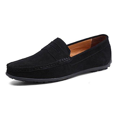 Vilocy uomo fibbia casuale scamosciato mocassini slip on guida barca mocassini scarpe nero,40
