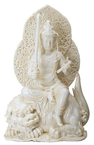 Manjushri-statue (28,6cm kalt gegossen Elfenbeinfarben farbigen Kunstharz Manjushri Buddhistische Statue)