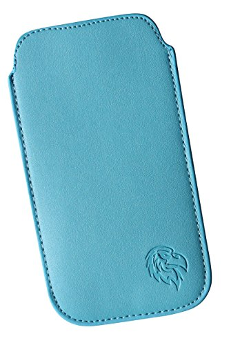 Schutz Tasche für Sony Xperia XA1, Pull tab Huelle fuer Handy herausziehbar in vielen Farben, Etui innen weiches Microfaser genäht mit Rausziehband, Case mit exklusivem Adler Motiv LE Hell-Blau