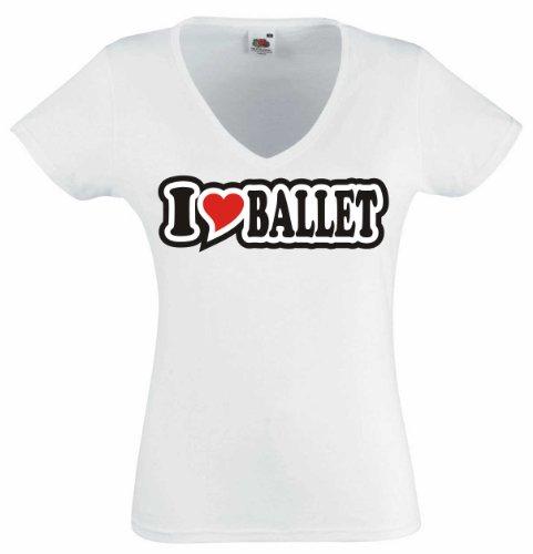T-Shirt Damen - I Love Heart - V-Ausschnitt I LOVE BALLET Weiß