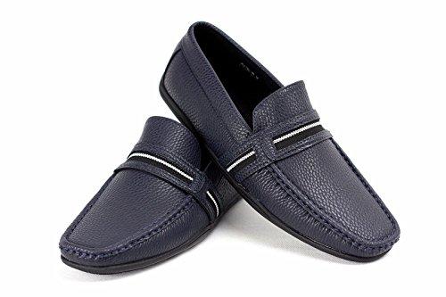 Chaussures De Bateau Pour Hommes À Enfiler Mocassins Semelle Caoutchouc Décontracté Chic Moccasin Pont De Travail Bleu Marine