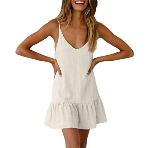 chnitt ärmellos Solid Volant rückenfrei Party Kleid Gr. US L, weiß ()