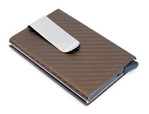 Premium Kreditkarten-Etui/Slim Wallet - RFID DATENSCHUTZ - Kreditkarten-Halter, Mini-Geldbeutel, Credit-Card-Holder, Kreditkarten-Hülle bis zu 7 Karten (Goldbraun)