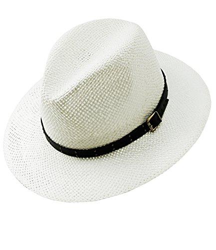 EveryHead Fiebig Damenstrohhut Strohhut Sommerhut Australier Cowboyhut Texashut Urlaubshut Hut Sonnenhut mit Ziergürtel für Frauen (FI-16373-S16-DA2-1-57) in Weiß, Größe 57 inkl Hutfibel