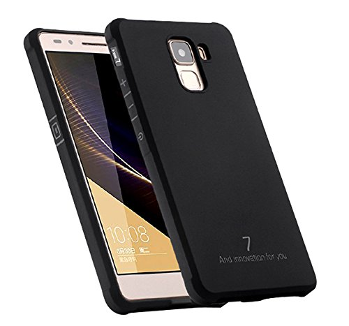 Schutzhülle Huawei Honor 7 Hülle, Business Serie Stoßfest Ultra Dünn Weich Silikon Rückseite Fall für Huawei Honor 7 (Schwarz)
