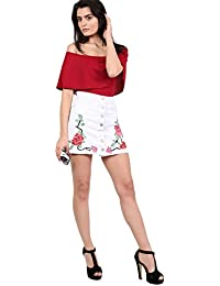 PILOT® Women's Floral Embroidered Front Button Denim Mini Skirt in White
