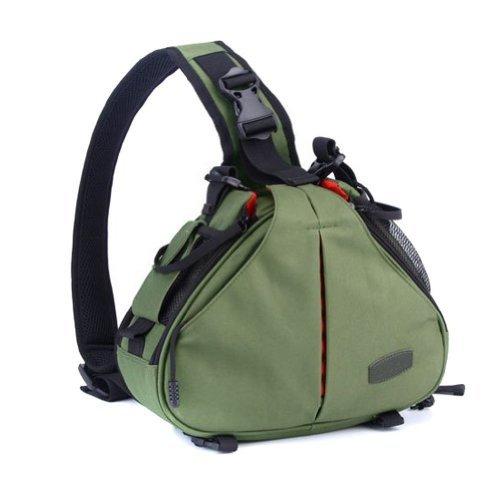 Caden K1 - Mochila bandolera impermeable para cámaras réflex digitales Canon y Nikon, diseño triangular, Verde