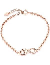 Unendlich U Klassisch LOVE Unendlichkeit Zeichen Damen Armband 925 Sterling Silber Zirkonia Armkette Verstellbar Charm Armkettchen Armreif, Rosegold
