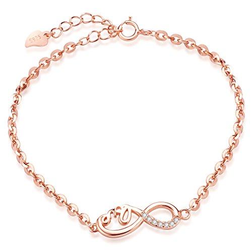 Unendlich-U-Klassisch-LOVE-Unendlichkeit-Zeichen-Damen-Armband-925-Sterling-Silber-Zirkonia-Armkette-Verstellbar-Charm-Armkettchen-Armreif-Rosegold