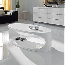 Mueble Auxiliar - Mesas de Centro Modernas - Mesa Ovalada CT-202 Blanca - iBERGADA