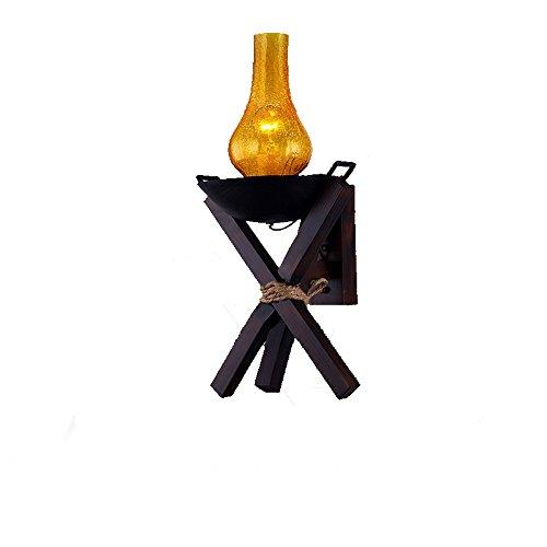 HJZY Sudeste de Asia Linterna Lámpara de Pared Retro Antiguo Brasero Lámpara de Pared de Madera Apliques E27 Lámpara de Keroseno Clásica Lámpara de Metal E27