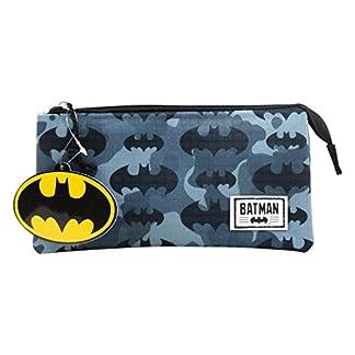 DC COMICS Batman Cammo – Portatodo con 3 compartimentos cerrado por Zip.