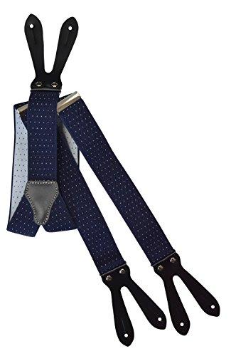 Olata formal unisex bretelle regolabili con vera pelle asole, 3.5cm larghezza - blu scuro con puntini bianchi