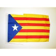BANDERA de CATALUÑA ESTELADA BLAVA 45x30cm - BANDERINA CATALANA INDEPENDENTISTA – CATALUNYA 30 x 45 cm cordeles - AZ FLAG