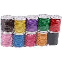 ULTNICE 10 Rollos Cuerda Hilo de Nylon Elástico Cordón para Collar Pulsera Abalorios 1mm * 5m