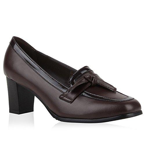 Damen Pumps Kitten Heels Schleifen Optik High Heels Leder-Optik Eleganter Schuh Schuhe 110534 Dunkelbraun Knoten Carlet 39 Flandell