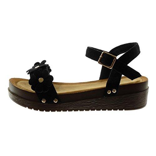 Angkorly Scarpe Moda Sandali Mules Zeppe con Cinturino Alla Caviglia Donna Fiori Borchiati Legno Tacco Zeppa Piattaforma 4.5 cm Nero