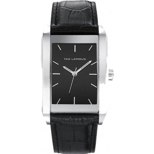 Ted Lapidus 5119301 - Reloj analógico de cuarzo para hombre, correa de cuero color negro
