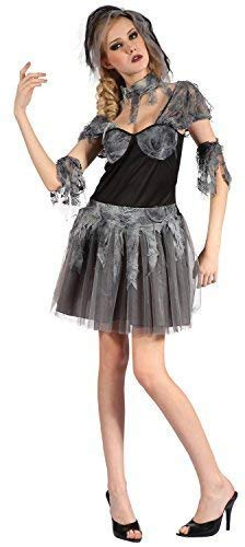 Corpse Bride Dead Kostüm - Fancy Me Damen 4 Stück Sexy Zombie Toter Corpse Bride Halloween Hochzeit Kostüm Kleid Outfit UK 10-12-14
