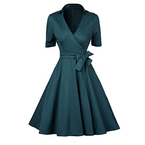 Etosell Femmes Vintage 1950's Audrey Hepburn Pin-up Robe De Soiree Cocktail, Style Halter A Pois Robes Vert