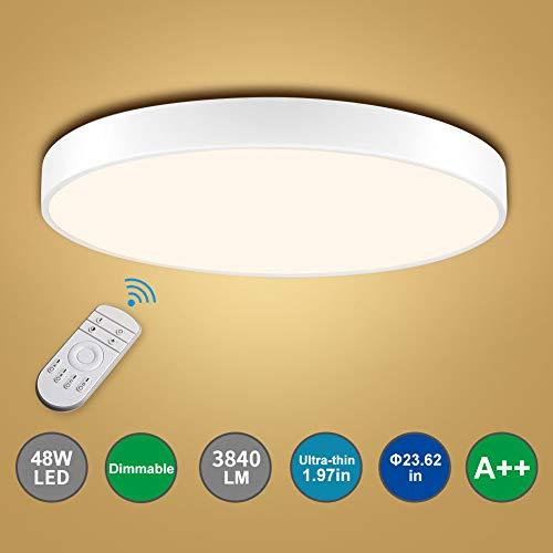 Bellanny LED Deckenleuchte,48W LED Deckenlampe Dimmbar 3000k-6000K,Durchmesser 60cm, Ultradünn Runde Led Deckenleuchte(5 cm Dicke) für Schlafzimmer, Küche, Arbeitszimmer, Büro usw.