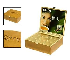 tchibo pure tea selection tee box aus holz f r 9 sorten. Black Bedroom Furniture Sets. Home Design Ideas