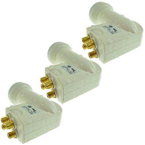 3 x Hochwertiges Wetterschutz inklusive für alle Satellitenanlagen Quad LNB Digital Full-HD UHD Empfang I 4 Teilnehmer I LNC Satellitenempfänger SAT-Verteiler I Na-Digital 401