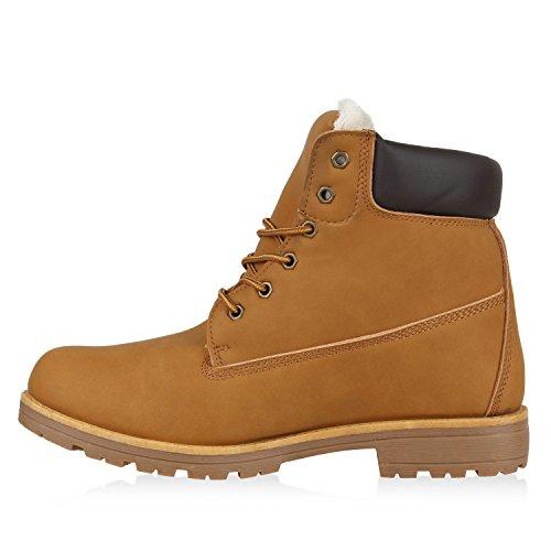 Gefütterte Herren Outdoor Worker Boots Schnürstiefel Profilsohle Hellbraun Weiss
