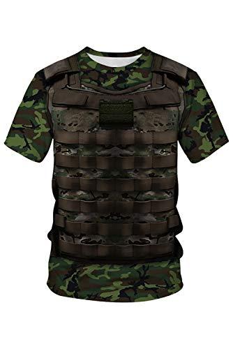 RedJade Herren Damen Anime Cosplay Kostüm Army Camouflage Tactical Armee-Tarnung taktisch Kurzarm - Army Kostüm Für Herren